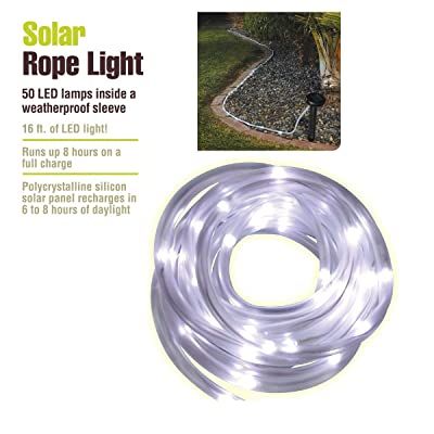 Outdoor Path Landscape Garden Solar Panel Rope Light 50 Long-Life LED 22 ft. Overall Length : Garden & Outdoor