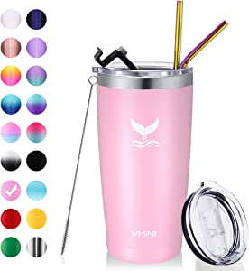 Vmini 20 oz Tumbler with Straws and Lids, Ice Coffee Tumbler, Travel Mug Vacuum Insulated Coffee Beer Pint Cup - 18/8 Stainless Steel Water Bottle : Pink