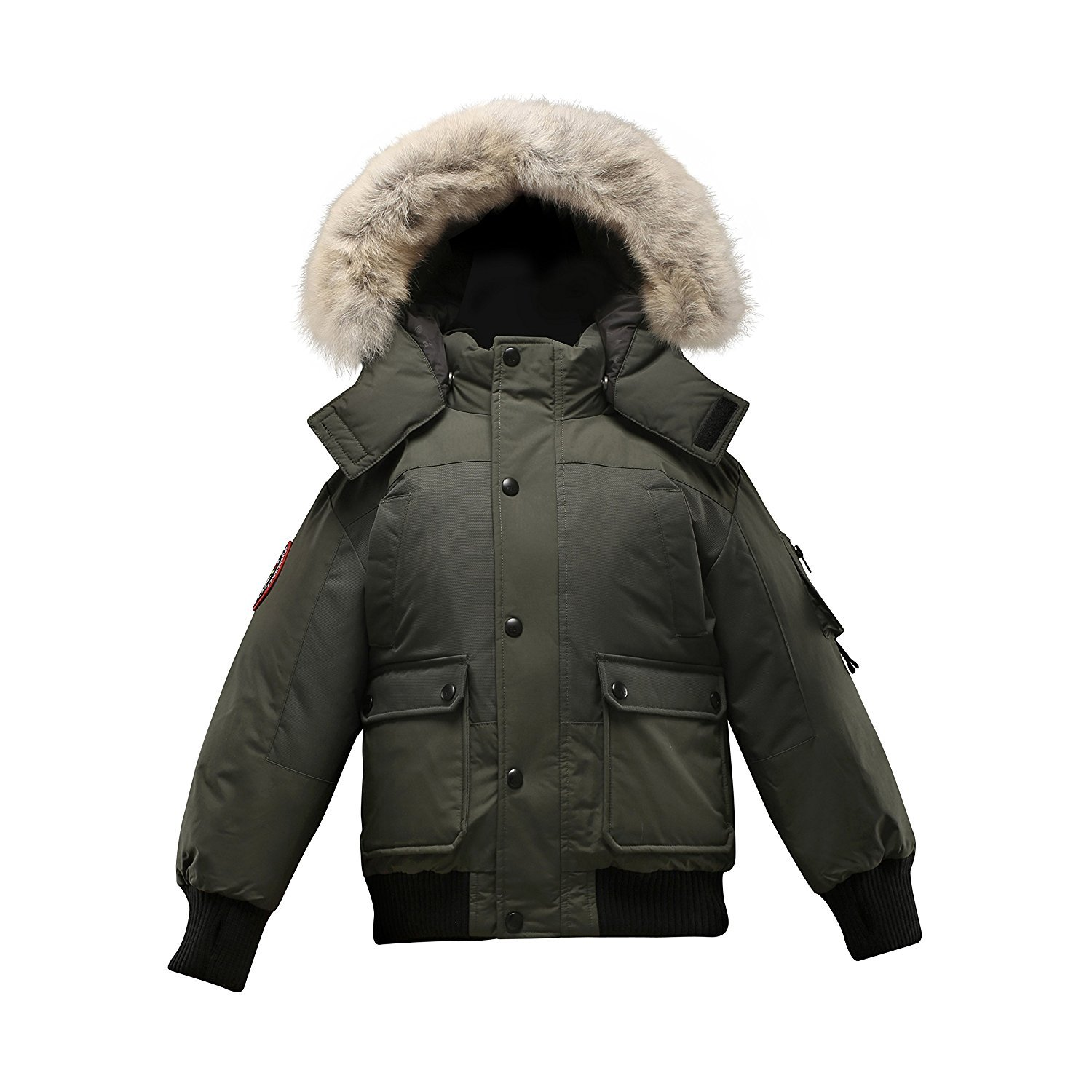 Triple F.A.T. Goose Grinnell Boys Down Jacket With Real Coyote Fur (8/10, Olive)