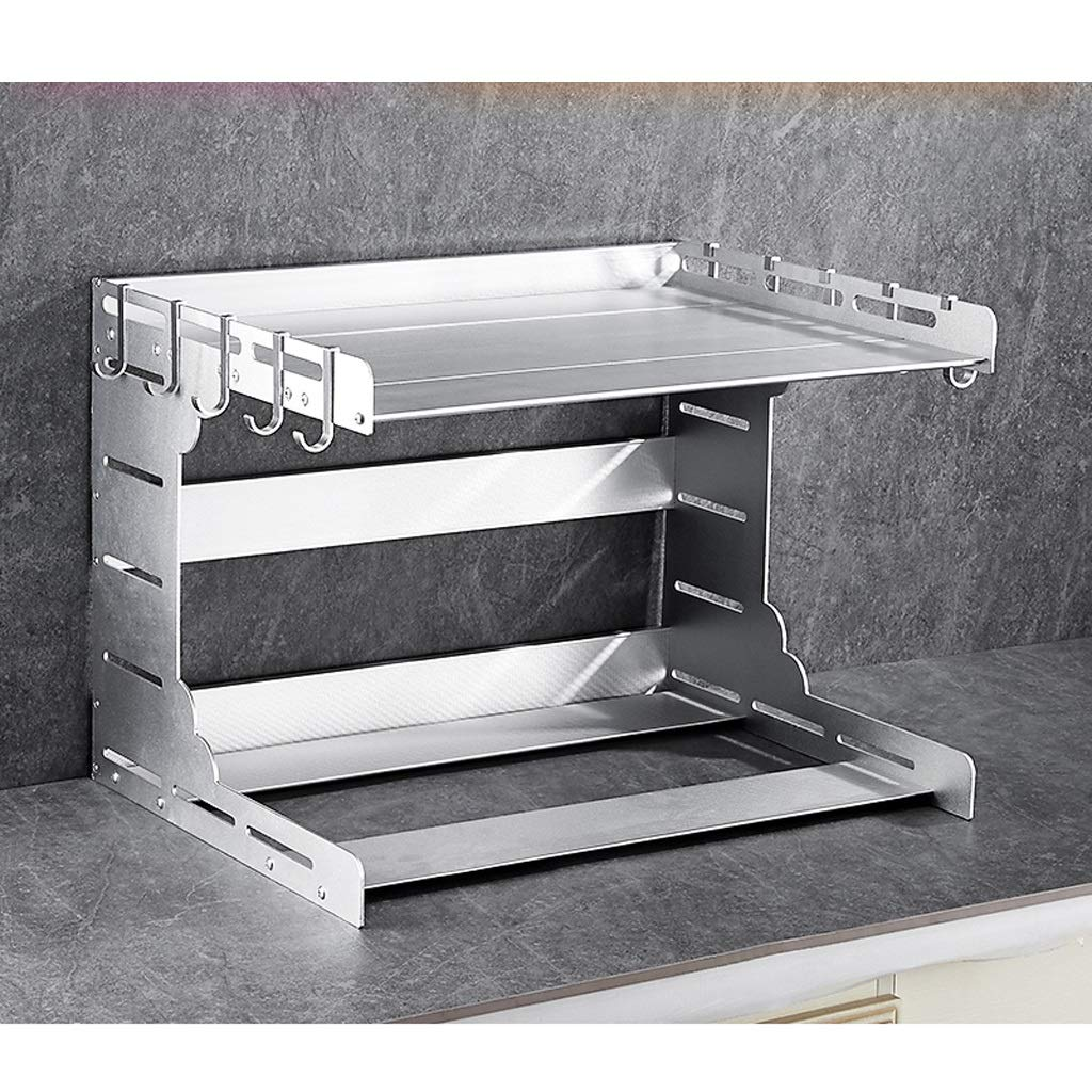 Silver BJLWT Shelf Double Base Kitchen Storage Rack 55  42.5  40.5cm (color   Silver)