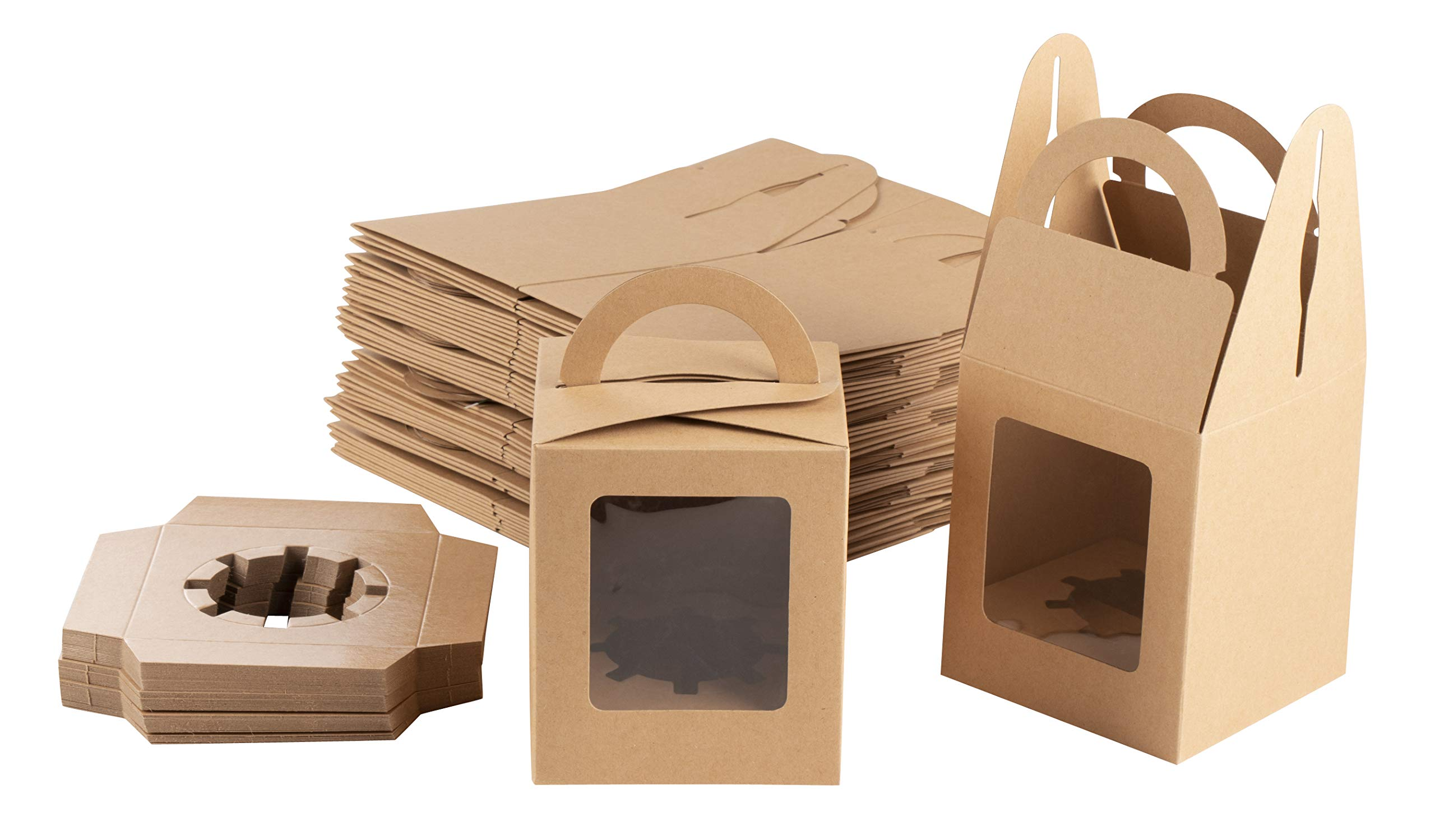 Kraft Paper Cupcake Boxes - 50-Pack Single Bakery Box Packaging with Clear Display Window, Insert, and Handle, Pastry Carrier Disposable Take-Out Container, Holds 1, Brown, 3.7 x 4.2 x 3.7 Inches by Juvale