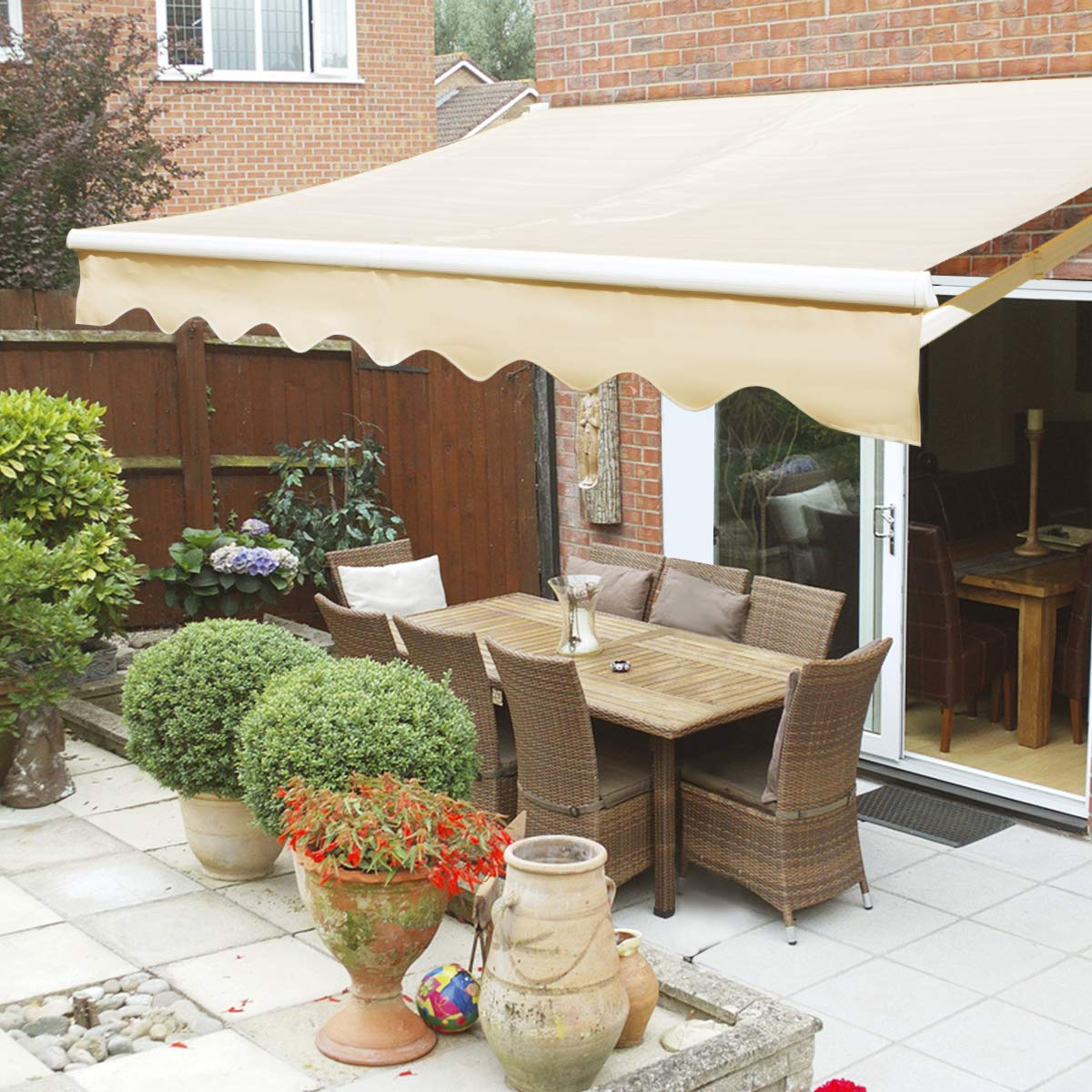 10' x 8' Patio Manual Retractable Sun Shade Awning Tan Generic