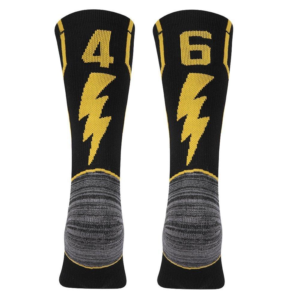 kitnsox大人用Youth Mid Calfクッションチームスポーツ数ソックスバスケットボールサッカー野球ゴールド/ブラック B07DXJ99TN 46 or 64 Team Number Black & Gold Large Large|46 or 64 Team Number Black & Gold