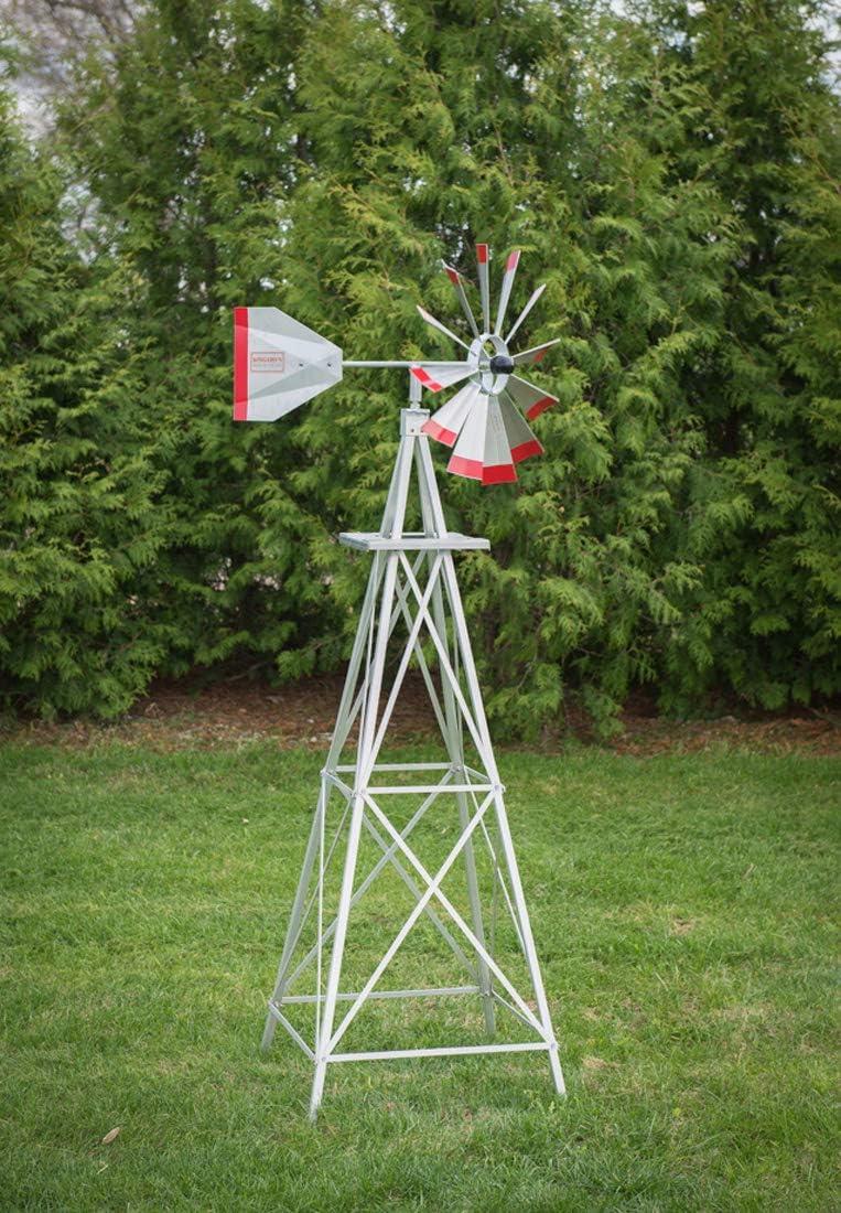 6 Ft Premium Aluminum Decorative Garden Windmill- Red Trim