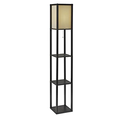 Adesso 3138-01 Wright 63 In. Floor Lamp - Smart Switch Compatible Light Fixtures with Two Storage Shelves. Lighting Accessories