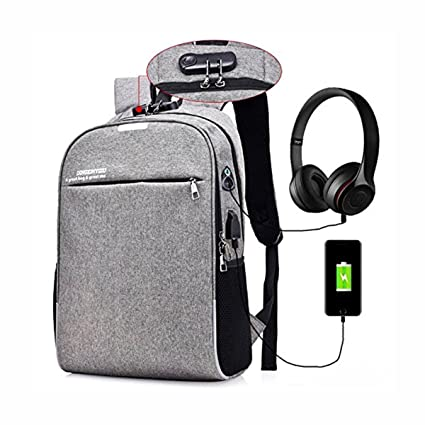 Bagzar Anti Theft Backpack with Password Lock in Cipher Backpack with Port  and Headphone Hole Water 682efb2f85682