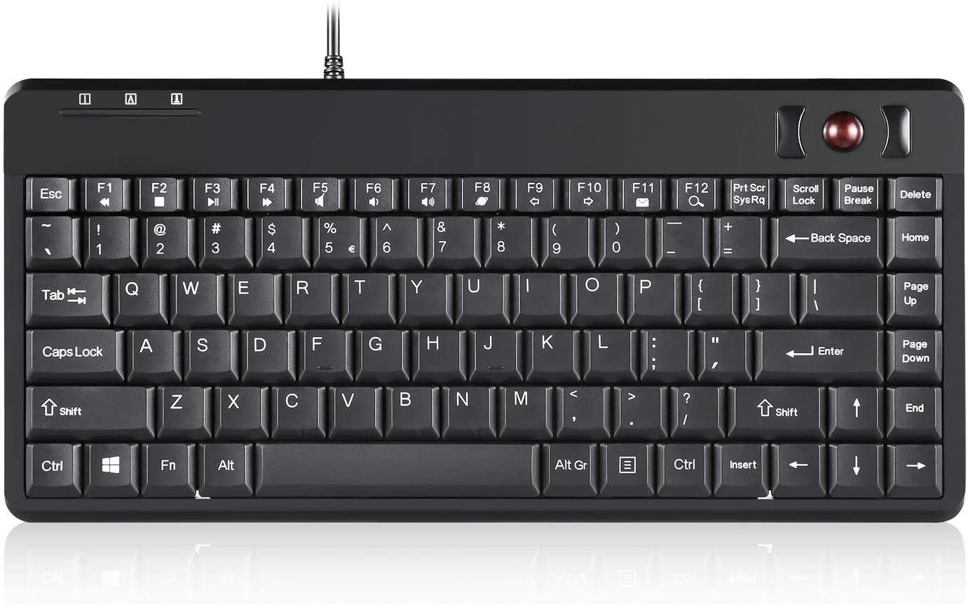 Perixx PERIBOARD-505H Wired Mini Keyboard with Trackball, Built-in 0.55 Inch Trackball and 2 USB Hubs, Black, US English Layout