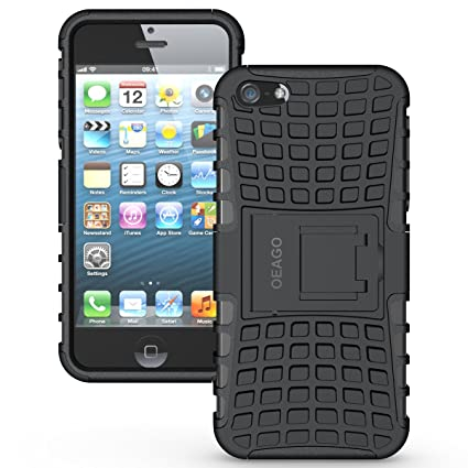 check out 12924 d8fee iPhone SE Case, OEAGO iPhone SE Cover Accessories - Tough Rugged Dual Layer  Protective Case with Kickstand for Apple iPhone SE - Black