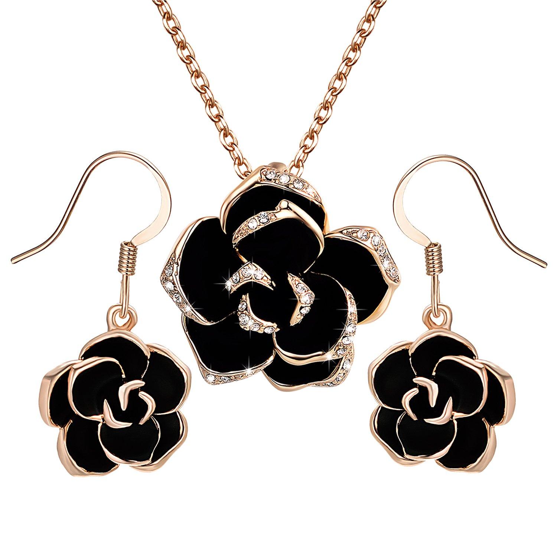 Yoursfs juegos de joyas conjuntos collar y pendientes oro k cristal y
