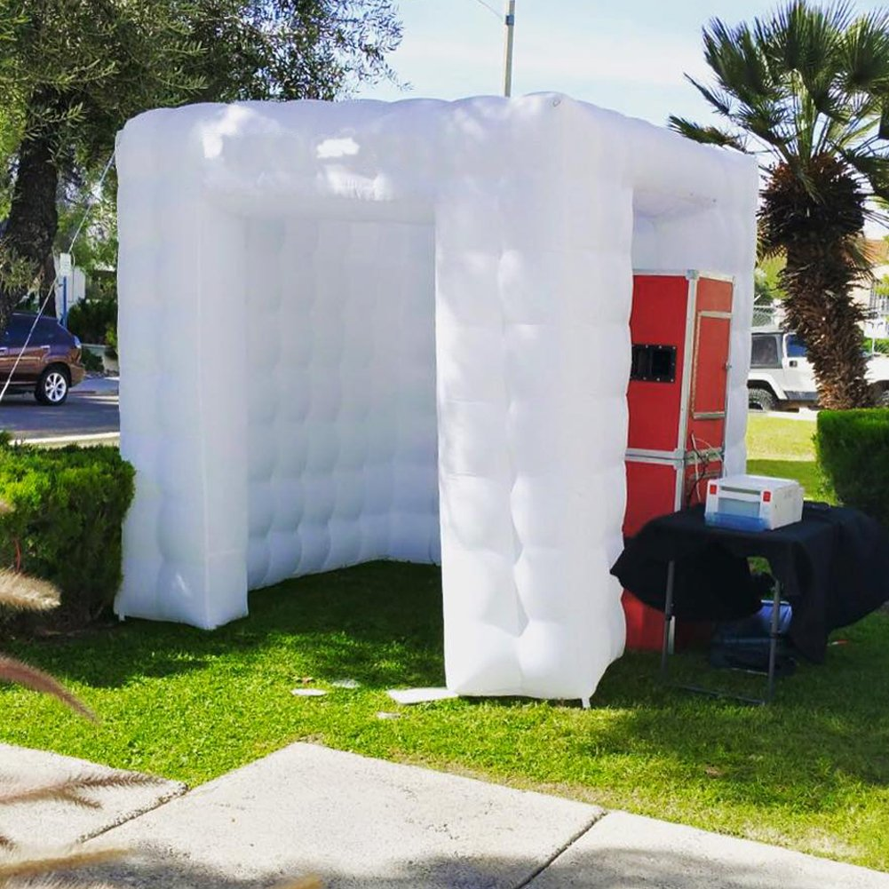 Inflatable Portable Photo Booth Enclosure - Inflatable Photobooth with Led Lights 4 Bulbs and Inner Air Blower Photo Booth Cube for Party, Wedding, Birthday, Halloween Decoration (Two Door White) by AIRMAT FACTORY (Image #10)