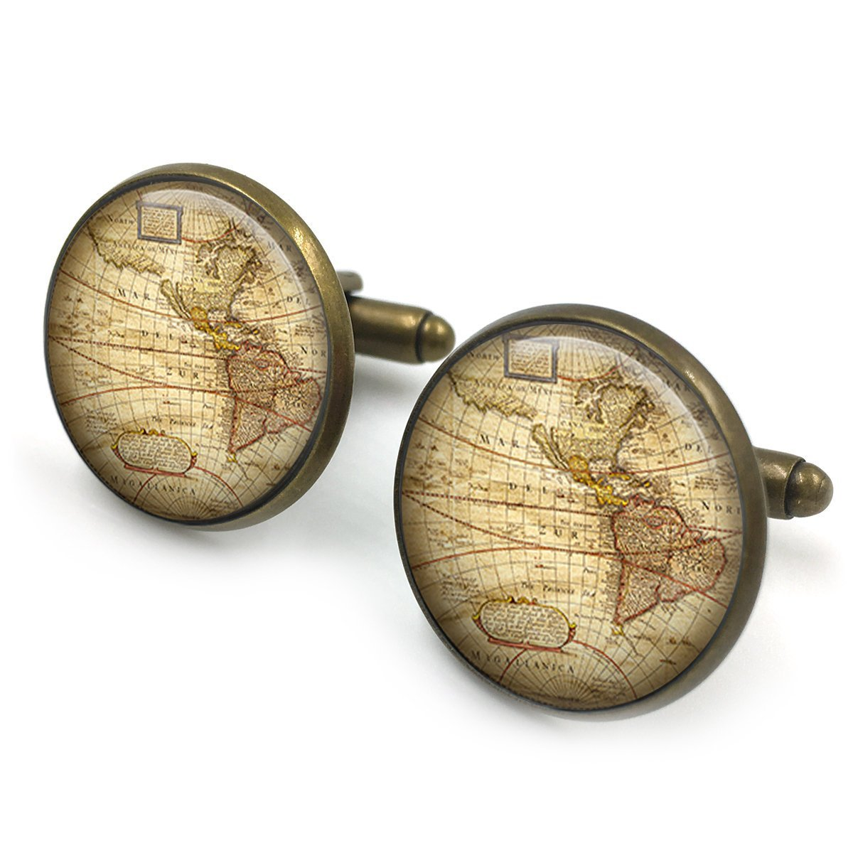 Chapado en oro Mancuernas de mapa de la vendimia| mancuernas de mapas antiguos| mapa antiguo| gemelos| mapa del mundo| brújula de latón| regalo padrinos| ...