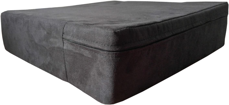Cojín ortopédico para silla de 40 x 40 x 10 cm, cojín de asiento contra dolores de espalda y coxis, de espuma de gel. Para silla, coche, banco, cama. Asiento elevador negro con funda de microfibra.