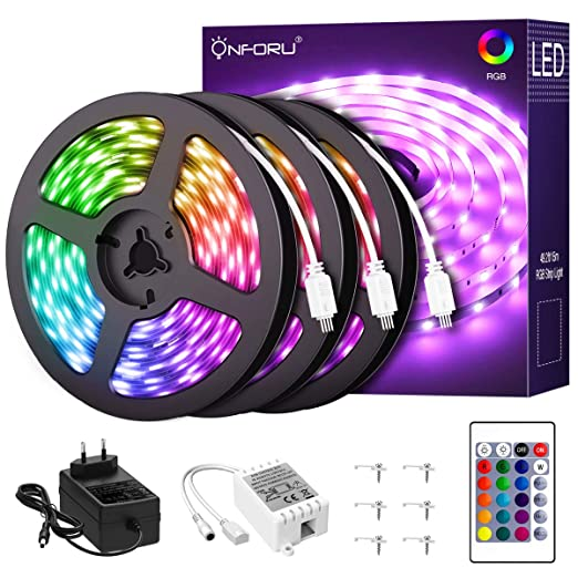 Onforu 50ft Rgb Led Strip Lights Kit 15m Flexible Color Changing Lights Strip 450 Units 5050 Rgb Led Rope Lights With 24v Power Supply For Party
