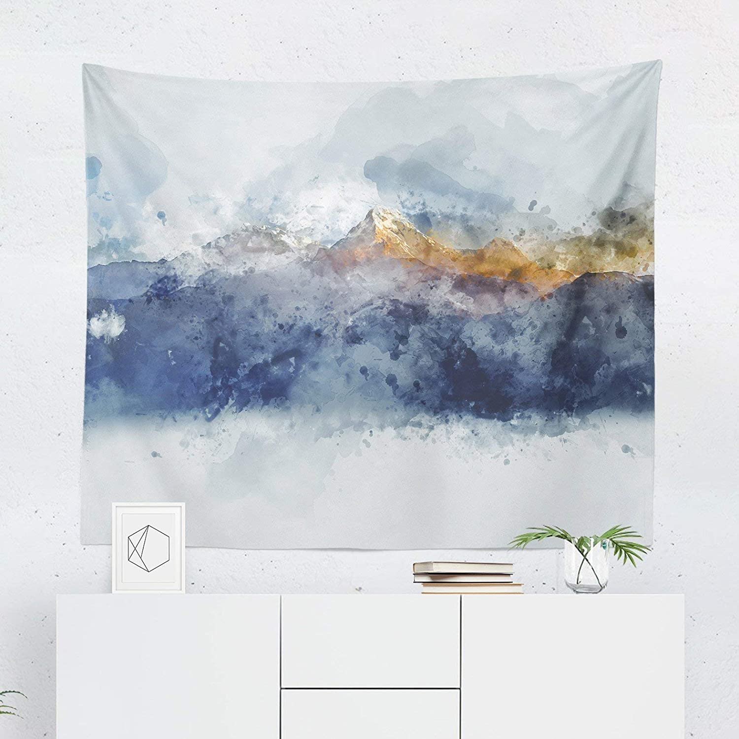 Watercolor Mountain Tapestry Wall Hanging Landscape Scenic Nature Wall Tapestries Dorm Room Bedroom Decor Art Printed In The Usa Small To Giant Sizes Handmade Dprd Tasikmalayakab Go Id
