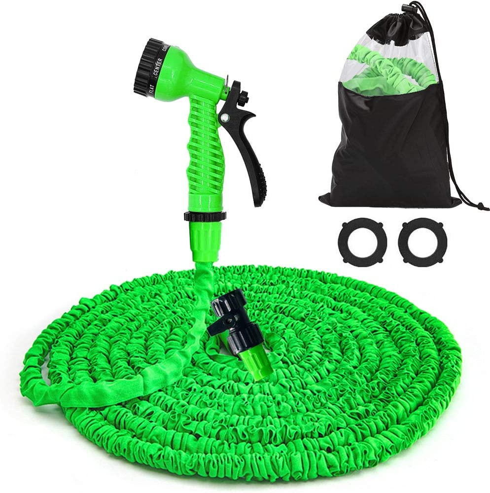 Xergur 50FT Garden Hose Expandable Water Pipe, Flexible Lightweight Water Hose, 7Function Spray Nozzle, Triple Layer Latex Core & Extra Strength Fabric for Gardening Lawn Car Pet Washing (Green)
