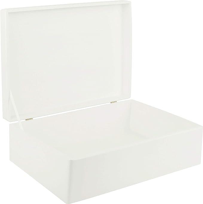 Creative Deco XL Blanca Grande Caja de Madera para Juguetes | 40 x ...