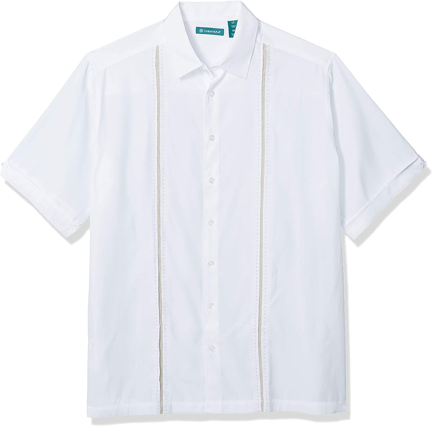 Cubavera Men's Short Sleeve Insert Panels with Pickstitch Shirt