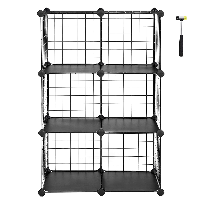 "SONGMICS Metal Wire Cube Storage,6-Cube Shelves Organizer,Stackable Storage Bins, Modular Bookcase, DIY Closet Cabinet Shelf, 24.8""L x 12.2""W x 36.6""H, Black ULPI111H"