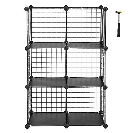8e5265de21a2 SONGMICS Interlocking Storage Rack Metal Wire Cubes 6 Cube for Book Shoes  Toys Clothes Tools Combination Unit 63 x 31 x 93 cm Black LPI111H
