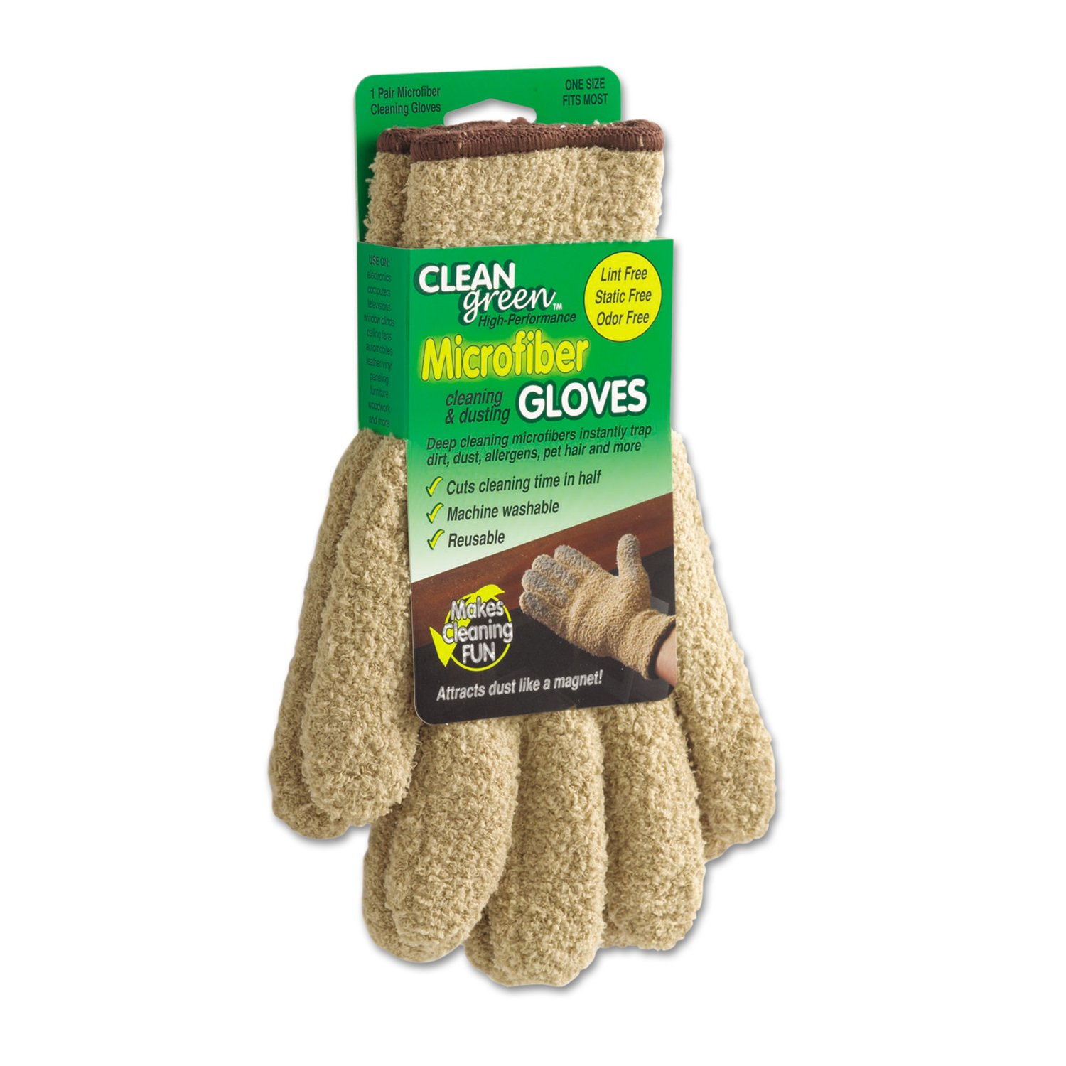 Master Manufacturing CleanGreen Microfiber Cleaning Gloves, One Size, Traps Dirt, Dust, Allergens, Pet Hair and More, Environmentally Safe (18040)