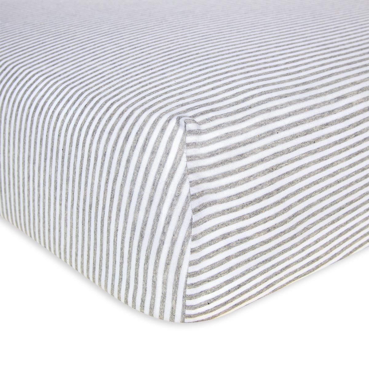 Burt's Bees Baby - Fitted Crib Sheet, Boys & Unisex 100% Organic Cotton Crib Sheet For Standard Crib and Toddler Mattresses (Heather Grey Thin Stripes) by Burt's Bees Baby