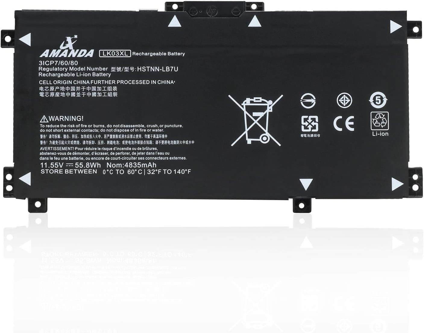 Amanda New LK03XL Laptop Battery 11.55V 55.8Wh Replacement for HP Envy 17 17-AE143NG 17M-AE0XX 17M-AE011DX 17T-AE100 Envy X360 15M-BP000 15-BP000 15-BP107TX 15M-BP012DX 15-BP100TX 916368-541