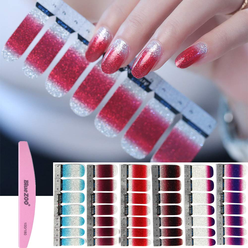 BlueZOO 1PC Nail Buffer File with 6 Different Sheets Shinny Full Nail Art Tips Stickers False Nail Design Manicure Sets(Style 1)