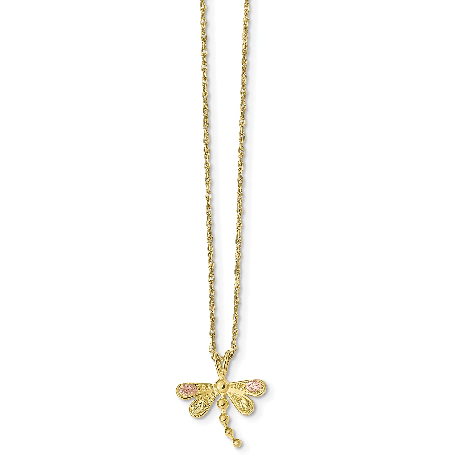 10k Tri-Color Gold Black Hills Dragonfly Necklace 18inch