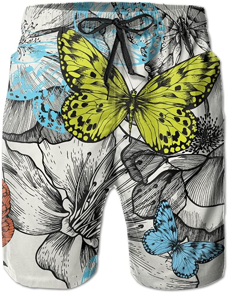 LUASD Mens Roses and Flying Butterflies Quick Drying Breathable Short Pants Swim Trunks