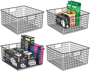 mDesign Farmhouse Metal Wire Storage Basket Bin with Handles for Home Office, Filing Cabinets, Shelves - Organizer for School Supplies, Pens, Pencils, Notepads, Staplers, Envelopes - 4 Pack - Black