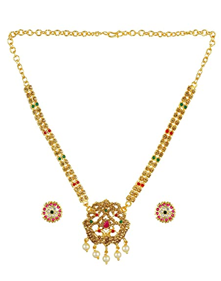 5d7f0885e7 Buy Adorelabel Traditional Gold Plated Ruby Emerald Stones Pearl Drops  Necklace Set with Earrings Wedding Collection Jewellery Sets for Women and  Girls ...