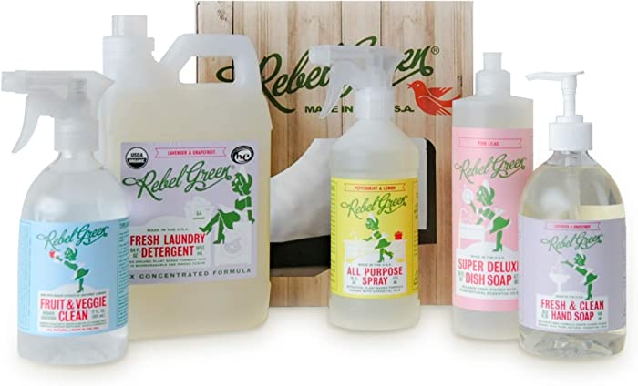 Rebel Green Complete Home Care Gift Set, 5 Pack, Natural Household Cleaning Products