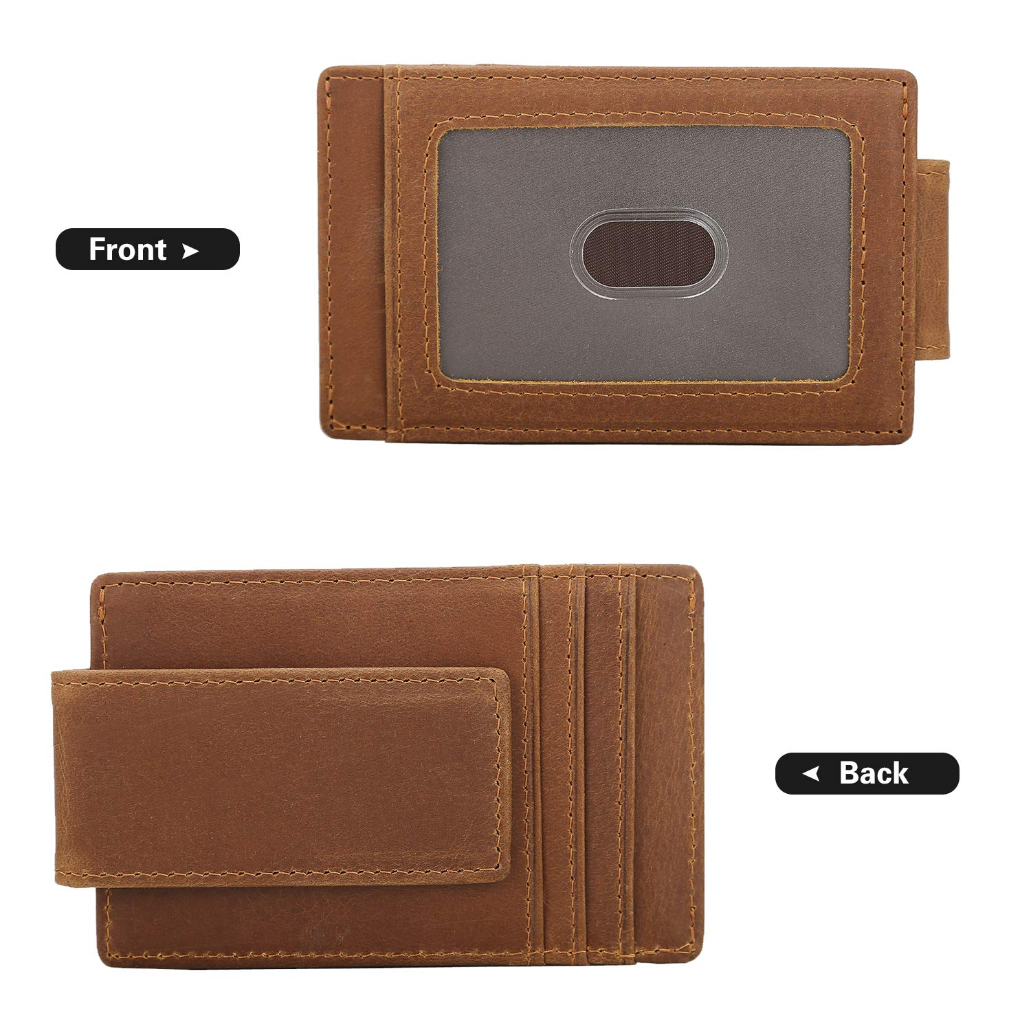 Polare Mens RFID Blocking Full Grain Leather Magnetic Front Pocket Money Clip Powerful Magnets Slim Wallet
