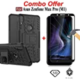 THE BUDGET STORE TARCASE Shockproof Armor Kickstand Back Case + 5D Curved 9H Hardness Edge to Edge Tempered Glass for ASUS ZenFone Max Pro M1 (Black)