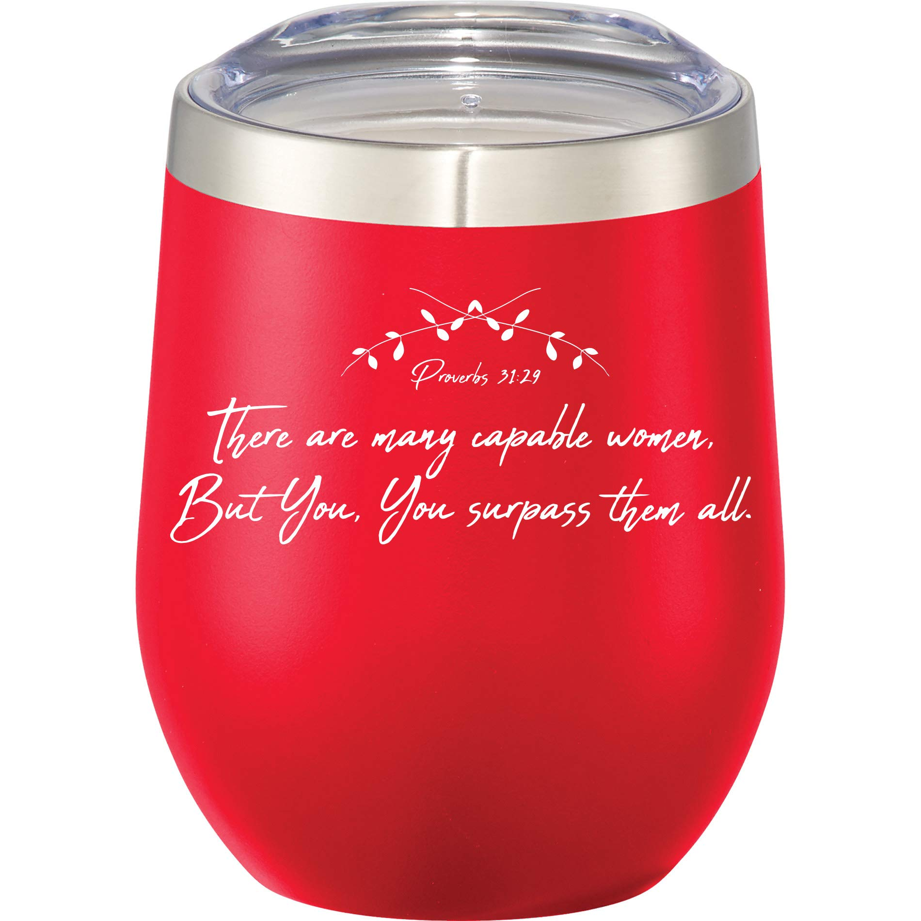 Christian Stemless Insulated Stainless Steel Wine Glass Tumbler - Christian Bible Gift - Outdoor Use - 12 oz Travel Cup - Insulated by LetsGo!