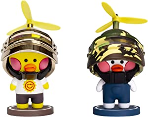Fun Cute Car Dashboard Decorations Rubber Ducks Toy Interior Decoration Ornaments Decor Car Stuff for Girls (2 Pack) Rubber Ducks with Helmet Kids Adults Gift (Gold + Camouflage)