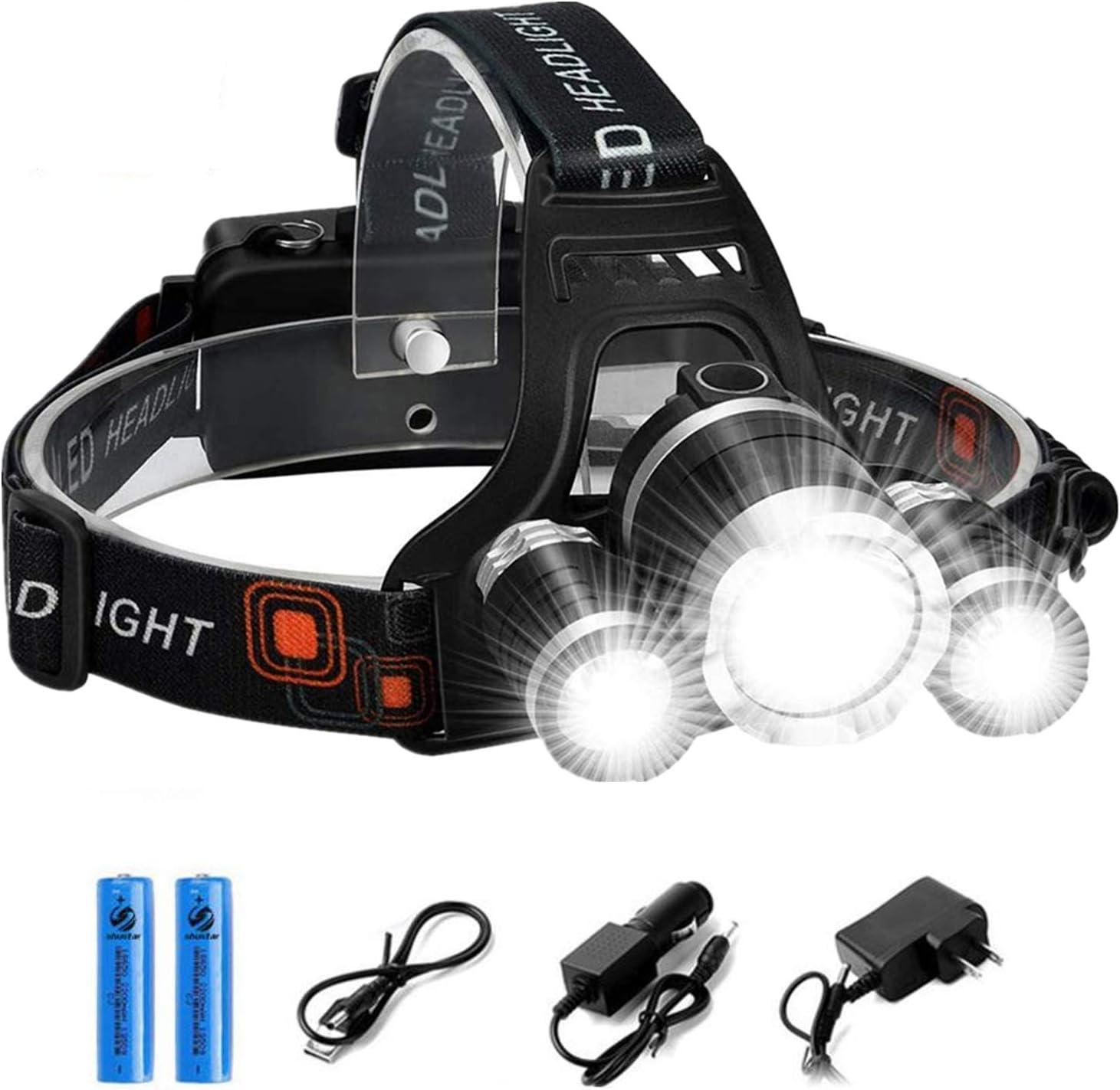 350000 Lumens LED Headlamp USB Rechargeable Headlamp Telescopic Zoomable EG