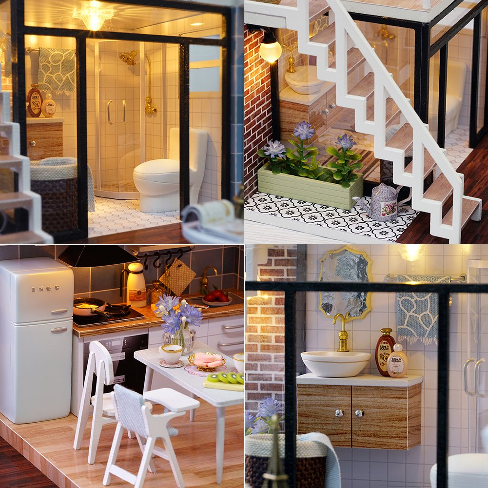 Amazon.es: CuteBee miniatura de la casa de muñecas con muebles, equipo de casa de muñecas de madera DIY, más resistente al polvo y el movimiento de música: ...