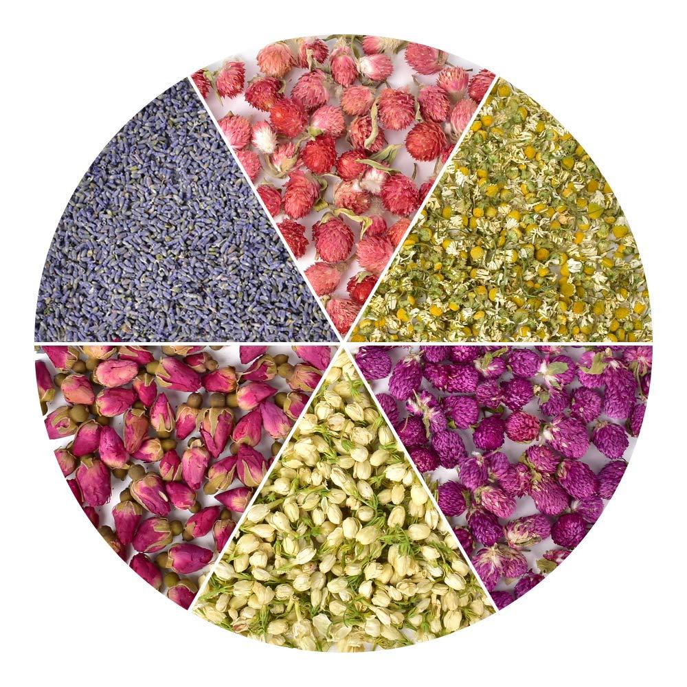 HAIOPS Dried Flowers Soap Making Scents Kits Food-Grade Rosebuds, Lavender, Jasmine, Chamomile, Gomphrena Globosa Linn, Red Globe Amaranth, 6 Bags by HAIOPS