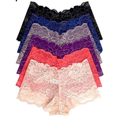 ToBeInStyle Women's 6-Pack Sexy Ruffled Lace Full Coverage Boyshort Panties at Women's Clothing store