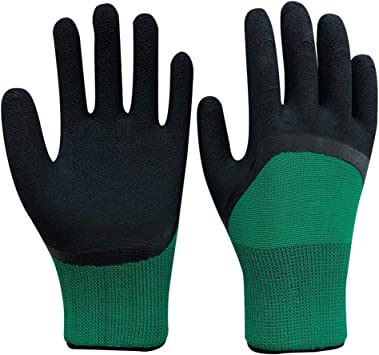 12 PAIRS LATEX COATED RUBBER WORK GLOVES  BUILDER GARDENING SAFETY GRIP