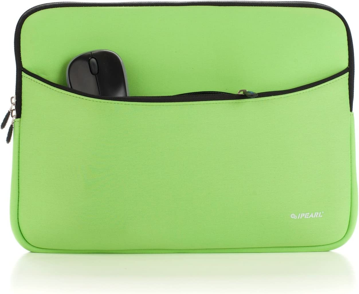 iPearl 14-inch Soft Neoprene Sleeve Case for MacBook & UltraBook Laptop (Built-in External Pocket) (Green)