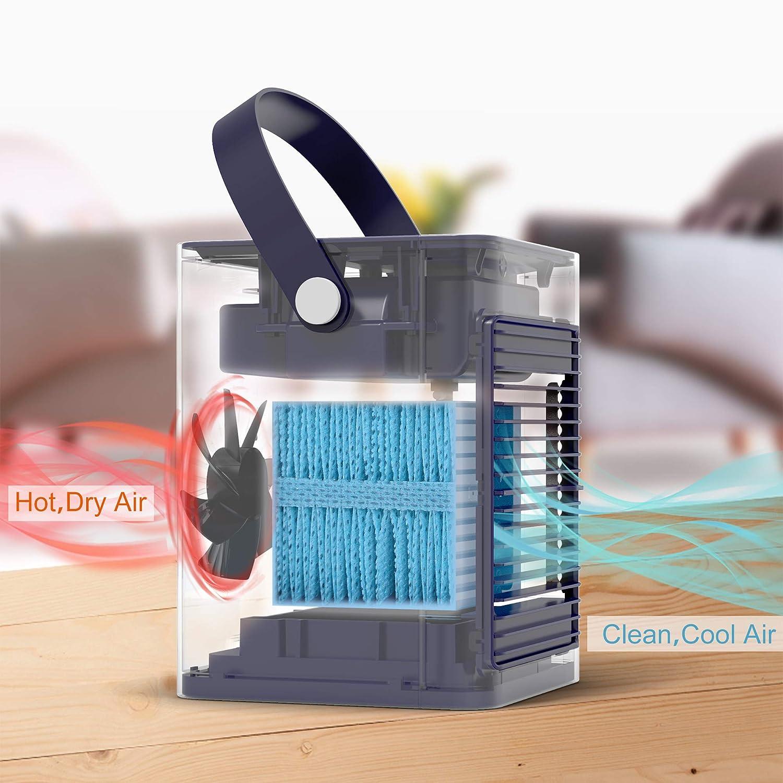 Evaporativo Compatto con Umidificatore e Purificatore daria,adatto per casa ufficio USB Air Cooler Climatizzatore Freddo Raffrescatore camera da letto HeiPard Mini Portatile Condizionatore