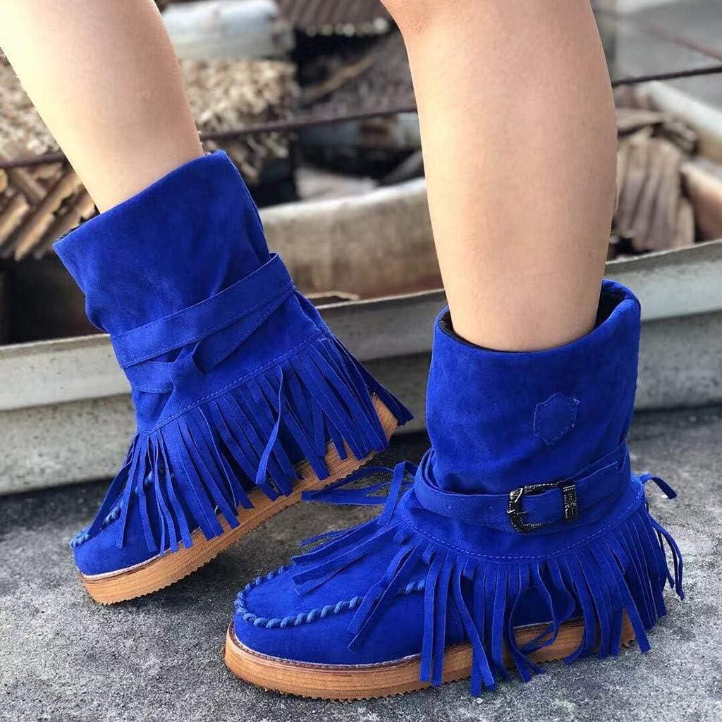 Womens Casual Shoes,Nevera Fashion Versatile Style Round Toe Flat Rome Retro Fringe Short Ankle Boots Shoes