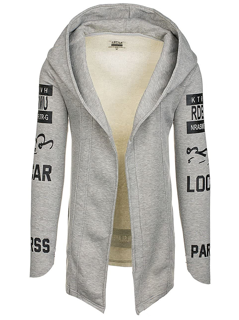 Herren Kapuzenpullover Sweatjacke Sweatshirt Hoodie Asymmetrisch BOLF 1A1 Motiv