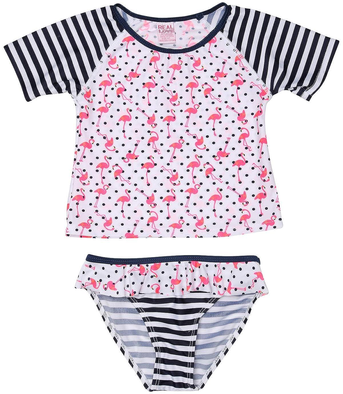 2 Tops and 2 Bikini Bottoms Real Love Baby Girls/' 4-Piece Rashguard Swimsuit Set
