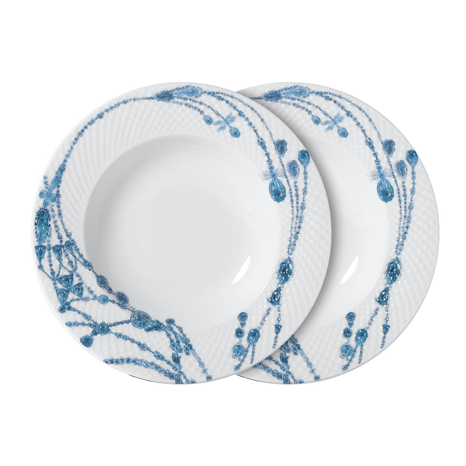 DoubleBlue 9'' Rounded Dinner Soup Plate (Set of 2) Bone China Microwaves for home restaurant hotel - Diamond pattern, White and Blue