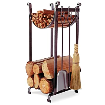 Amazon.com: Enclume Sling Log Rack with Fireplace Tools, Hammered ...