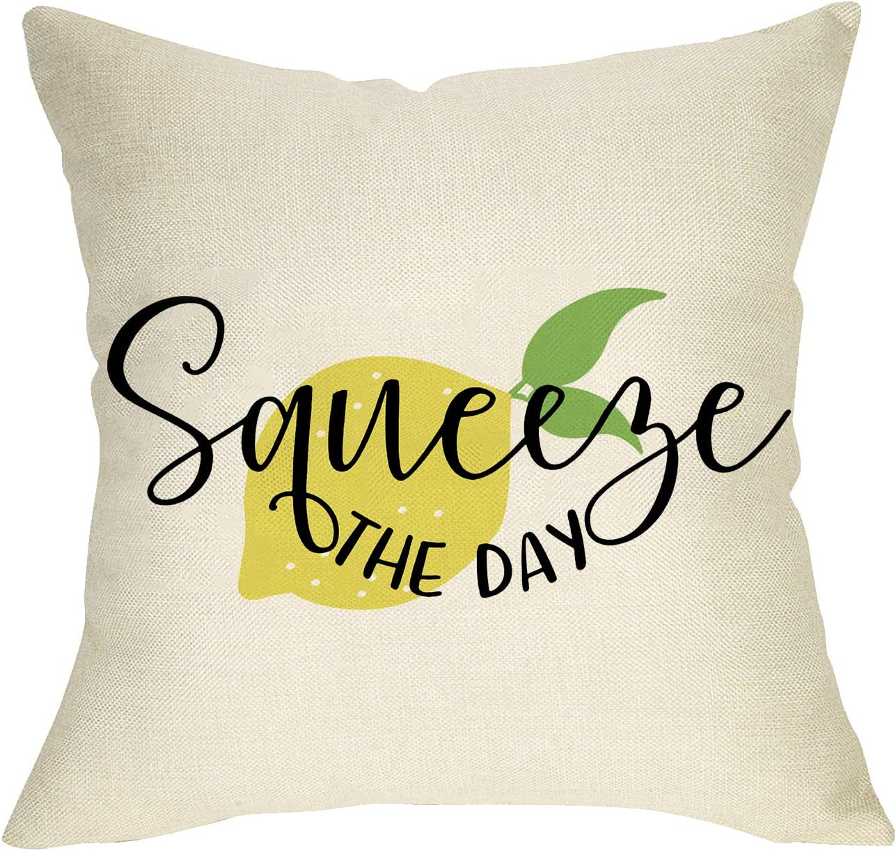Softxpp Squeeze The Day Summer Throw Pillow Cover, Decorative Farmhouse Lemon Pillow Case Decor Seasonal Square Cushion Cover Spring Home Decorations for Sofa Couch 18'' x 18'' Cotton Linen