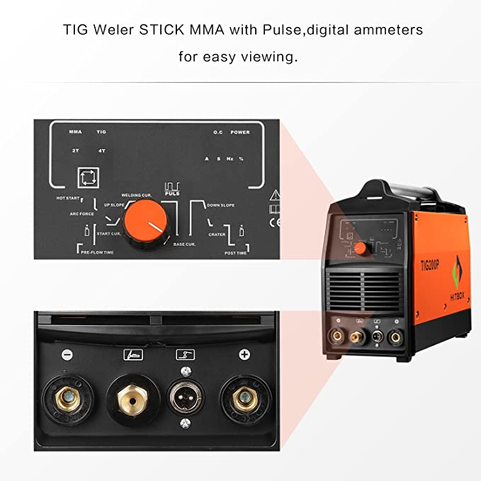 200A Inversor TIG Soldador Pulso Digital de Alta Frecuencia TIG Soldadora MMA Stick Mosfet 60% D/C Soldadora Máquina Control Digital